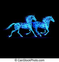 青, 火, horses.