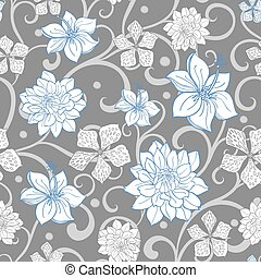 青, 灰色, パターン, 空, seamless, florals, ベクトル, 渦巻