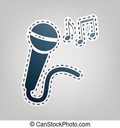 青, 灰色, マイクロフォン, ノート。, アイコン, 印, バックグラウンド。, 切断, 音楽, vector., から, アウトライン