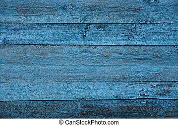 青, 灰色, 手ざわり, の, 古い, 木製のフェンス, 壁, 板