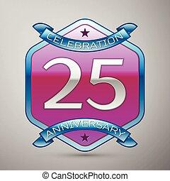 青, 灰色, 紫色, 20, 装飾, 記念日, 年, バックグラウンド。, 5, ロゴ, 六角形, 銀, リボン, 祝福