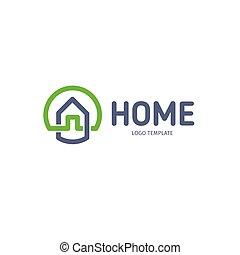 青, 灰色, 芸術, 線である, 財産, logotype., 家, ベクトル, 緑, 実質, 家, 線, logo., icon., 痛みなさい, アウトライン