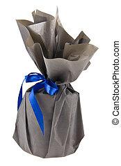 青, 灰色, 贈り物, 隔離された, ペーパー, 背景, 白いリボン
