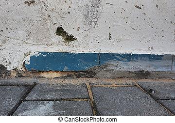 青, 灰色, slab., 古い, 抽象的, 壁, ペンキ, 舗装, 背景, グランジ, 白, プラスター