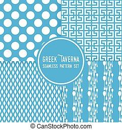 青, 点, セット, 居酒屋, パターン, shapes., theme., cutlery, ギリシャ語, ベクトル, seamless, 背景, 装飾
