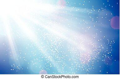 青, 点, 爆発, 太陽, 抽象的, 空 ライト, blurry