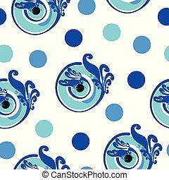青, 点, 目, パターン, ポルカ, seamless, 悪, ギリシャ語, ベクトル