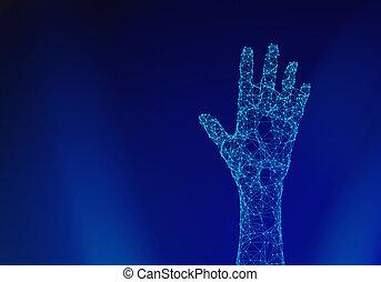 青, 点, 背景, concept., ライン, 隔離された, イラスト, 手, 接続, 人間, 技術, 未来派, 3d