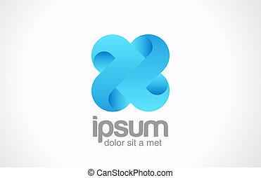 青, 無限点, vecto, concept., cross., ロゴ, チーム, x, icon., ループ, 周期