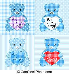 青, 熊, カード, テディ
