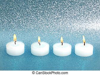 青, 燃焼, 蝋燭, 上に, 背景, 光沢がある, 銀