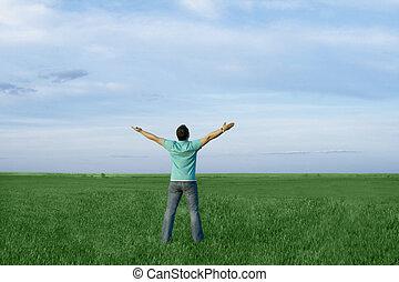 青, 牧草地, 自然, エネルギー, 空, 暗い, 取得, 人