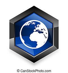 青, 現代, 3d, デザイン, 背景, 地球, 白, 六角形, アイコン