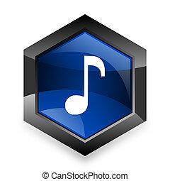 青, 現代, 3d, 音楽, 背景, デザイン, 白, 六角形, アイコン