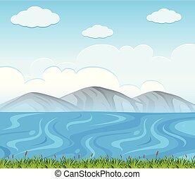 青, 現場, 背景, 湖