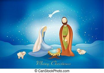 青, 現場, nativity, 背景, カード, ほんの少し, クリスマス