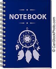 青, 現実的, ベクトル, notebook., イラスト