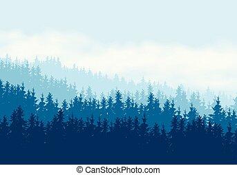 青, 球果を結ぶ, 雲, 空, イラスト, 現実的, 森林, 下に