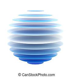 青, 球, 抽象的, 層, 隔離された