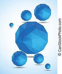 青, 球, 抽象的, 背景