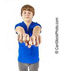 青, 男の子, ティーンエージャーの, 彼の, ワイシャツ, 握りこぶし, ショー