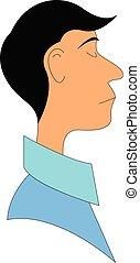 青, 男の子, ワイシャツ, waering, イラスト, ベクトル