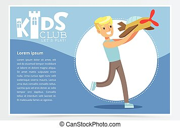 青, 男の子, 子供, illustration., カラフルである, 平ら, クラブ, ポスター, concept., 特徴, 飛行機, 遊び, ベクトル, model., 活動, 微笑, 幼年時代, 漫画, 幸せ