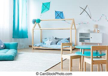 青, 男の子, 寝室