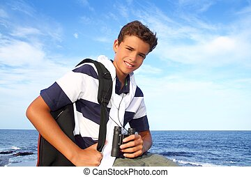 青, 男の子, 探検家, 双眼鏡, ティーネージャー, 浜