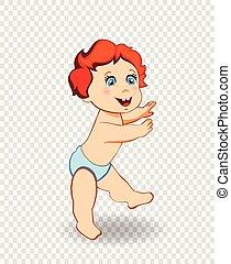 青, 男の子, 歩きなさい, ベクトル, おむつ, 赤ん坊, つらい, 漫画