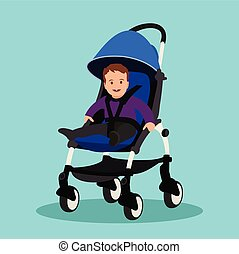 青, 男の子, stroller, 赤ん坊, バックグラウンド。