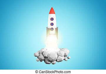 青, 発射, ロケット, 背景