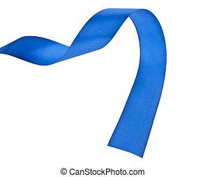 青, 白いリボン, 隔離された, 背景