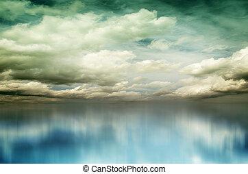 青, 白い雲, 上に, 海