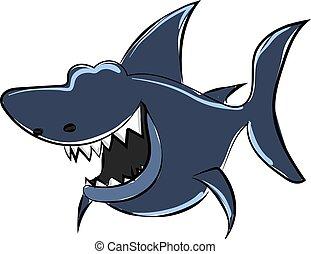 青, 白, サメ, バックグラウンド。, ベクトル, イラスト