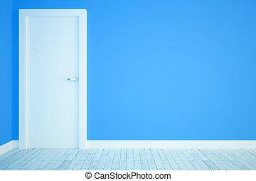 青, 白, ドア, 部屋