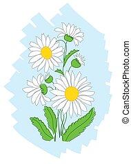 青, 白, ベクトル, 花, 背景