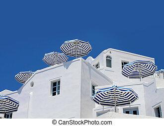 青, 白, 日よけ, 傘