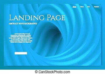 青, 着陸, 要素, ベクトル, デザイン, minimalistic, template., ページ