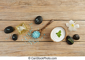 青, 石, ココナッツ, 概念, 塩, 上, エステ, びん, オイル, スプーン, 木, plumeria, 海, テーブル, 殻, ろうそく, 白い花, ミント, 設定, クリーム