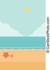 青, 砂ビーチ, sea., 背景