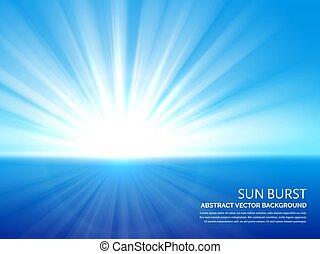 青, 破烈, 爆発, 太陽, 抽象的, sky., 効果, 日光, ベクトル, 背景, 白