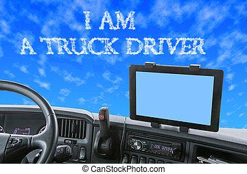 青, 碑文, 空, トラック, ダッシュボード