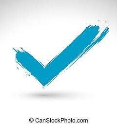 青, 確認, アイコン, シンボル, 隔離された, vectorized, checkmark, バックグラウンド。, スキャンされる, ブラシ, 引かれる, 白, 手, ナビゲーション, 図画, 手 - ペイントされた