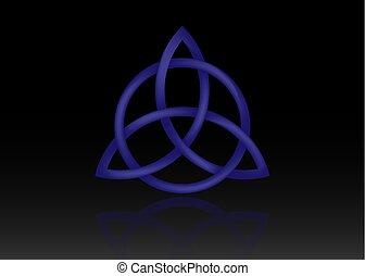 青, 神秘的, ケルト, セット, wiccan, シンボル, 隔離された, protection., シンボル, シンボル, バックグラウンド。, 古代, 黒, 三位一体, 結び目, triquetra, 結び目, ベクトル, 予言, ロゴ, 3d