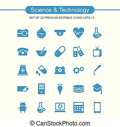 青, 科学, セット, 技術アイコン