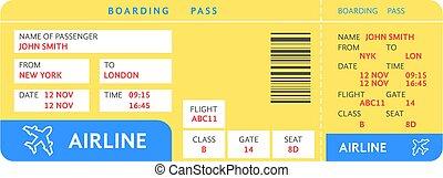 青, 空気, 切符, テキスト, 飛行機, 黄色