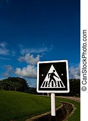 青, 空, に対して, 印, 歩行者, 交通, 交差