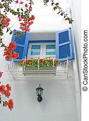 青, 窓, 壁, 白