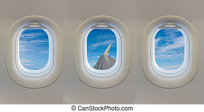 青, 窓, 飛行機, sky.